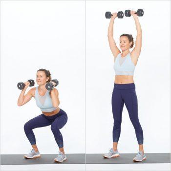 Bài tập giảm mỡ bụng và bắp tay với động tác Squat nâng tay cao